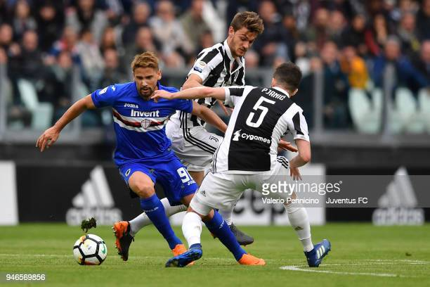 Miralem Pjanic and Daniele Rugani of Juventus competes for the ball with Gaston Ramirez of UC Sampdoria during the serie A match between Juventus and...