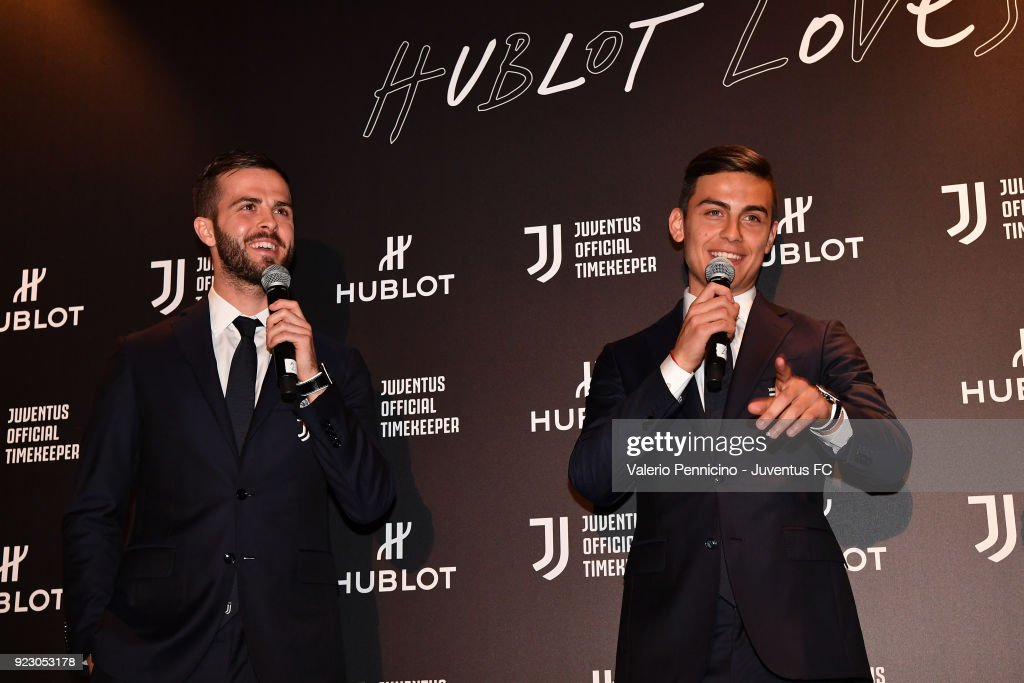 Miralem Pjanic And Paulo Dybala attend the unveiling of partnership renewal between Hublot and Juventus at Allianz Stadium on February 21, 2018 in Turin, Italy.