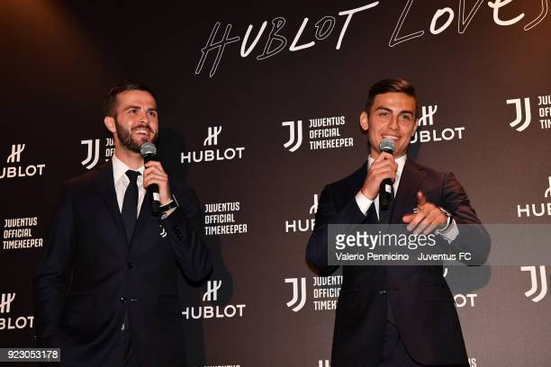 Miralem Pjanic And Paulo Dybala attend the unveiling of partnership renewal between Hublot and Juventus at Allianz Stadium on February 21 2018 in...