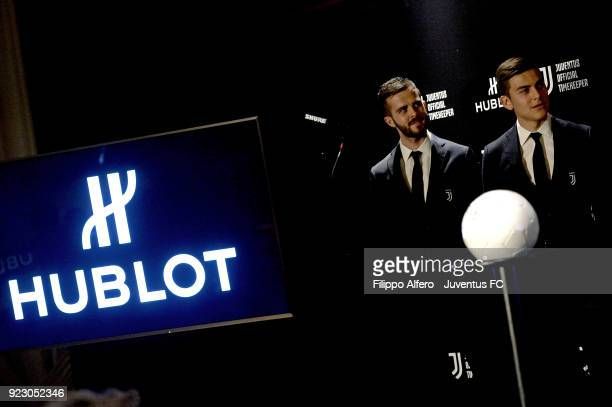 Miralem Pjanic and Paulo Dybala during Hublot Event For Juventus at Allianz Stadium on February 21 2018 in Turin Italy