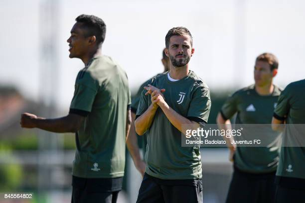 Miralem Pjanic during a Juventus training session at Juventus Center Vinovo on September 11 2017 in Vinovo Italy