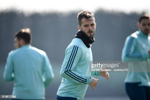 Miralem Pjanic during a Juventus training session at Juventus Center Vinovo on February 15 2018 in Vinovo Italy