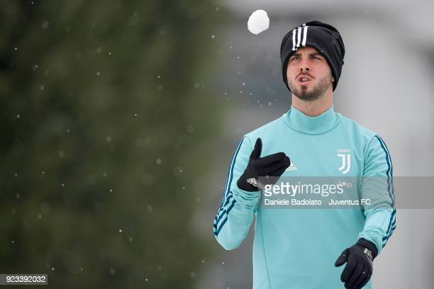 Miralem Pjanic during a Juventus training session at Juventus Center Vinovo on February 23 2018 in Vinovo Italy