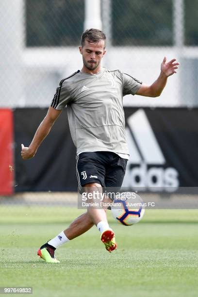Miralem Pjanic during a Juventus training session at Juventus Training Center on July 13 2018 in Turin Italy