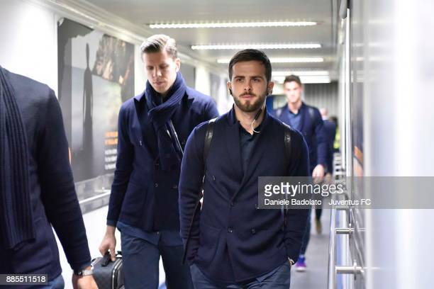 Miralem Pjanic during a Juventus Travel to Athens ahead of the UEFA chanpions League match versus Olimpiacos at on December 4 2017 in Athens Greece