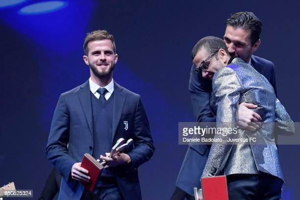 Miralem Pjanic Gianluigi Buffon and Dani Alves attends the Gran Gala Del Calcio 2017 on November 27 2017 in Milan Italy
