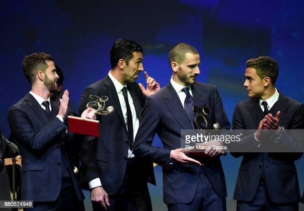 Miralem Pjanic Gianluigi Buffon Leonardo Bonucci and Paulo Dybala attend the Gran Gala Del Calcio 2017 on November 27 2017 in Milan Italy