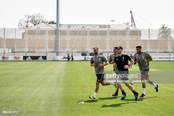 Miralem Pjanic Mattia De Sciglio Enrico Maffei and Emre Can during a Juventus training session at Juventus Training Center on July 9 2018 in Turin...