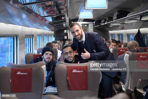 Miralem Pjanic Medhi Benatia and Gonzalo Higuain during Juventus Travel to Bologna ahead of the Serie A match versus Bologna FC on December 16 2017...