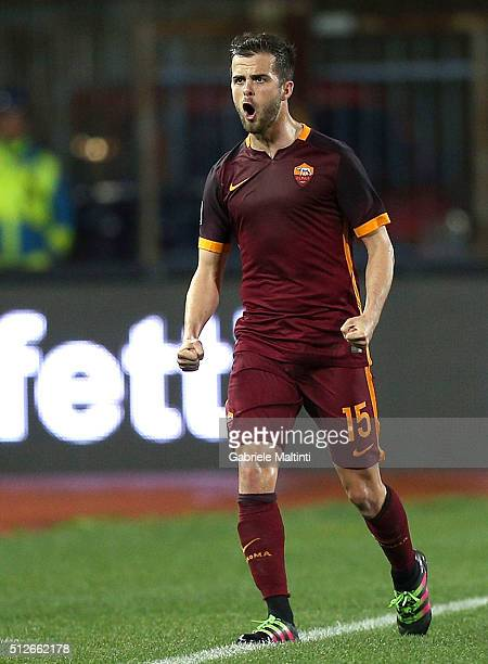Miralem Pjanic of AS Roma celebrates after scoring a goal during the Serie A match between Empoli FC and AS Roma at Stadio Carlo Castellani on...