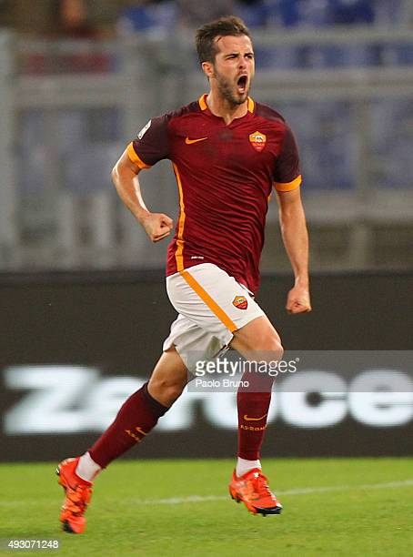 Miralem Pjanic of AS Roma celebrates after scoring the opening goal during the Serie A match between AS Roma and Empoli FC at Stadio Olimpico on...