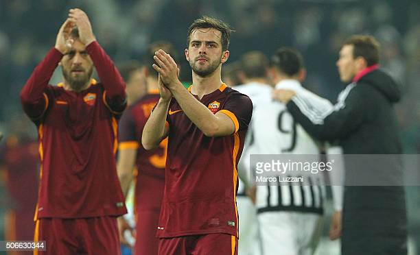 Miralem Pjanic of AS Roma salutes the crowd at the end of the Serie A match between Juventus FC and AS Roma at Juventus Arena on January 24 2016 in...