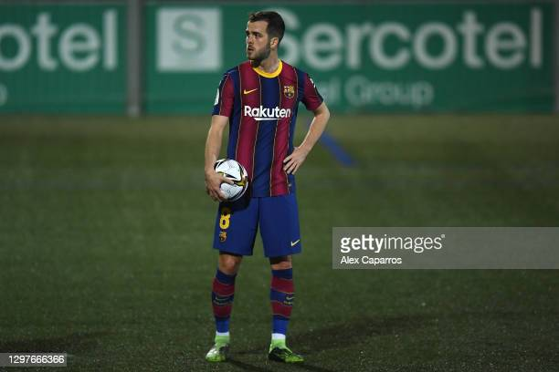Miralem Pjanic of Barcelona prepares to take a penalty during the Copa del Rey match between Cornella and FC Barcelona on January 21, 2021 in...