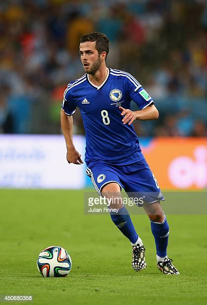 Miralem Pjanic of Bosnia and Herzegovina controls the ball during the 2014 FIFA World Cup Brazil Group F match between Argentina and...