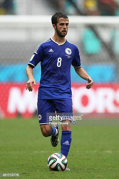 Miralem Pjanic of Bosnia and Herzegovina controls the ball during the 2014 FIFA World Cup Brazil Group F match between Bosnia and Herzegovina and...