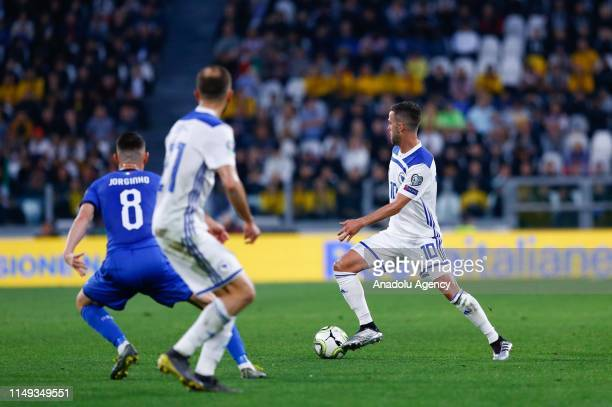 Miralem Pjanic of Bosnia and Herzegovina in action during UEFA European Qualifying Group J match between Italy and Bosnia and Herzegovina at Juventus...