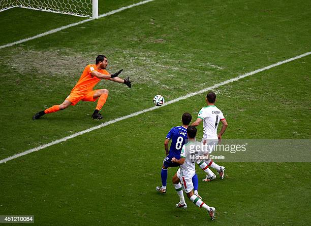 Miralem Pjanic of Bosnia and Herzegovina shoots and scores his team's second goal past goalkeeper Alireza Haghighi of Iran during the 2014 FIFA World...