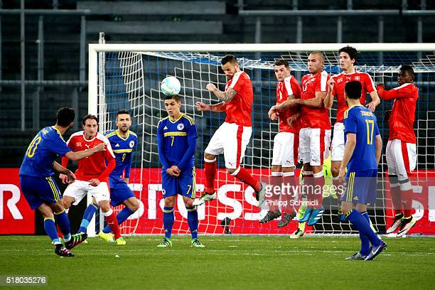 Miralem Pjanic of BosniaHerzegovina scores the second goal during the international friendly match between Switzerland and BosniaHerzegovina at...