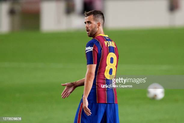 Miralem Pjanic of FC Barcelona gives instructions during the Joan Gamper Trophy match between FC Barcelona and Elche CF on September 19, 2020 in...