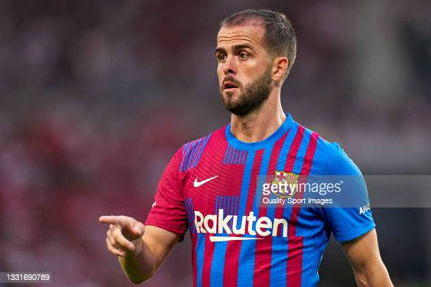 Miralem Pjanic of FC Barcelona in action during a pre-season friendly match between VfB Stuttgart and FC Barcelona at Mercedes-Benz Arena on July 31,...