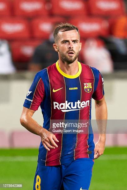 Miralem Pjanic of FC Barcelona looks on during the Joan Gamper Trophy match between FC Barcelona and Elche CF at Camp Nou on September 19, 2020 in...
