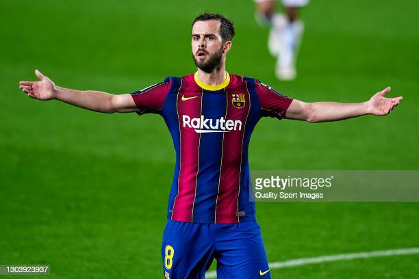 Miralem Pjanic of FC Barcelona reacts during the La Liga Santander match between FC Barcelona and Elche CF at Camp Nou on February 24, 2021 in...