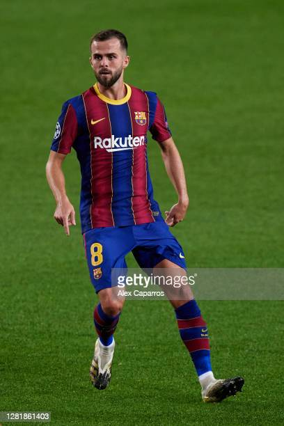 Miralem Pjanic of FC Barcelona runs during the UEFA Champions League Group G stage match between FC Barcelona and Ferencvaros Budapest at Camp Nou on...
