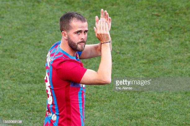 Miralem Pjanic of FC Barcelona waves the fans during the Joan Gamper Trophy match between FC Barcelona and Juventus at Estadi Johan Cruyff on August...
