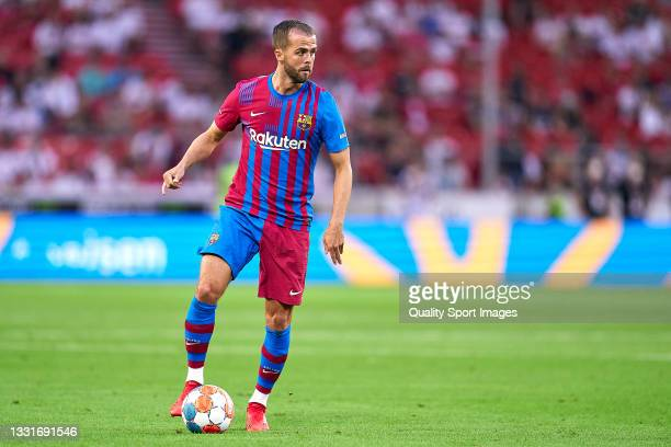 Miralem Pjanic of FC Barcelona with the ball during a pre-season friendly match between VfB Stuttgart and FC Barcelona at Mercedes-Benz Arena on July...