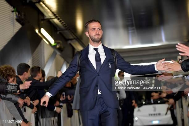Miralem Pjanic of Juventus arrives at the Allianz Stadium before the Serie A match between Juventus and Atalanta BC on May 19 2019 in Turin Italy