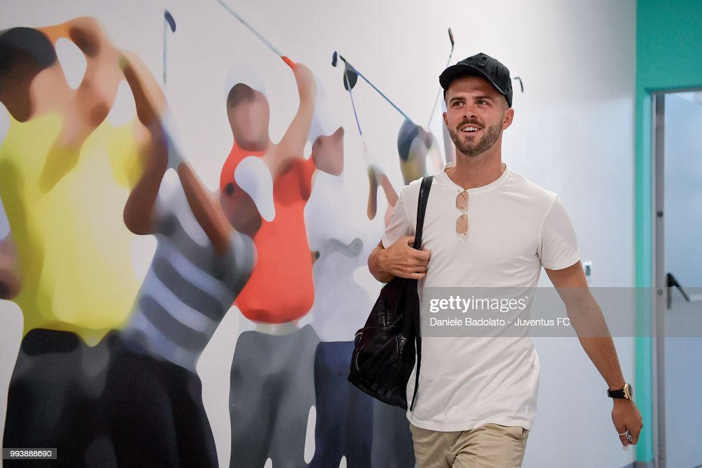 Miralem Pjanic of Juventus attends medical tests at Jmedical on July 8, 2018 in Turin, Italy.