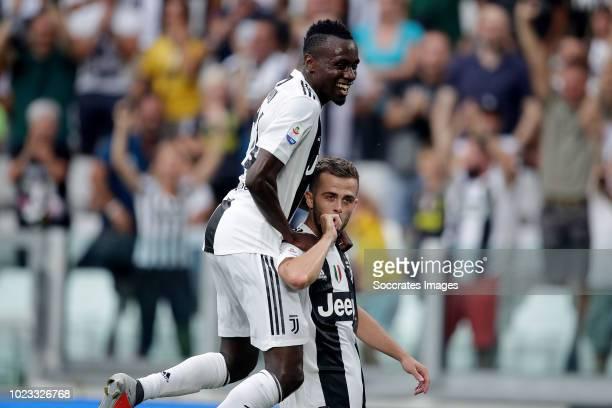 Miralem Pjanic of Juventus celebrates 1-0 with Blaise Matuidi of Juventus during the Italian Serie A match between Juventus v Lazio at the Allianz...