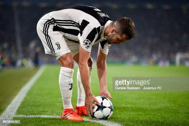 Miralem Pjanic of Juventus corner kick during the UEFA Champions League group D match between Juventus and Sporting CP at Allianz Stadium on October...