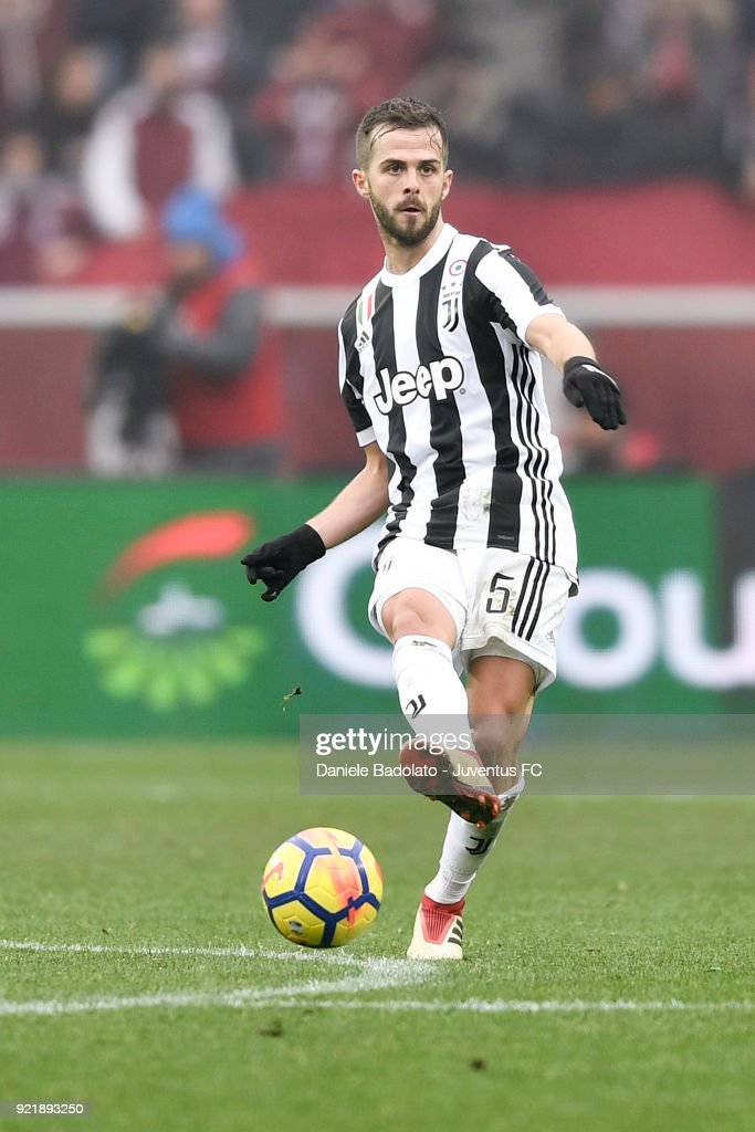 Miralem Pjanic of Juventus during the serie A match between Torino FC and Juventus at Stadio Olimpico di Torino on February 18, 2018 in Turin, Italy.