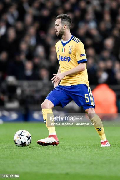 Miralem Pjanic of Juventus during the UEFA Champions League Round of 16 Second Leg match between Tottenham Hotspur and Juventus at Wembley Stadium on...