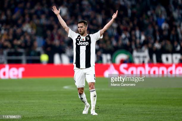 Miralem Pjanic of Juventus FC gestures during the UEFA Champions League quarter final second leg football match between Juventus Fc and Afc Ajax Afc...