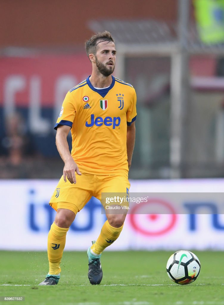 Miralem Pjanic of Juventus FC in action during the Serie A match between Genoa CFC and Juventus at Stadio Luigi Ferraris on August 26, 2017 in Genoa, Italy.