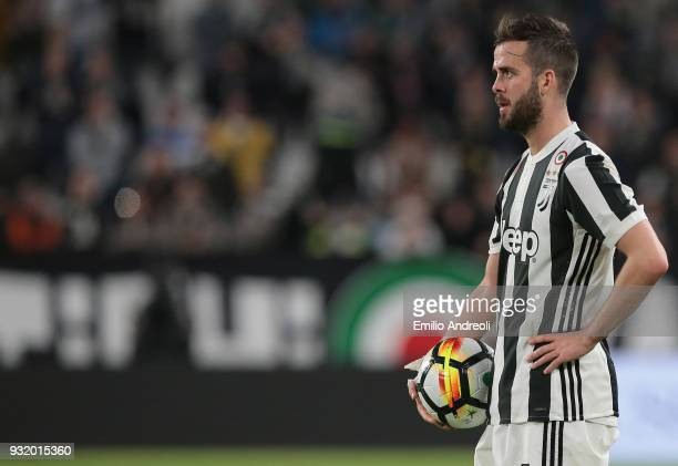 Miralem Pjanic of Juventus FC looks on during the serie A match between Juventus and Atalanta BC at Allianz Stadium on March 14 2018 in Turin Italy