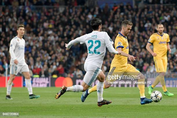 Miralem Pjanic of Juventus in action during the Champions League match between Real Madrid and Juventus at Estadio Santiago Bernabeu on April 11 2018...