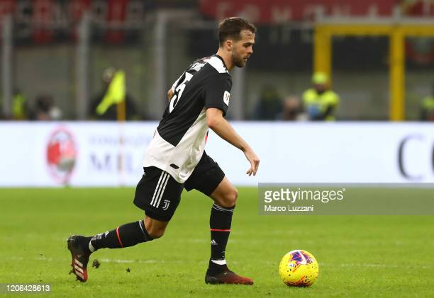 Miralem Pjanic of Juventus in action during the Coppa Italia Semi Final match between AC Milan and Juventus at Stadio Giuseppe Meazza on February 13...