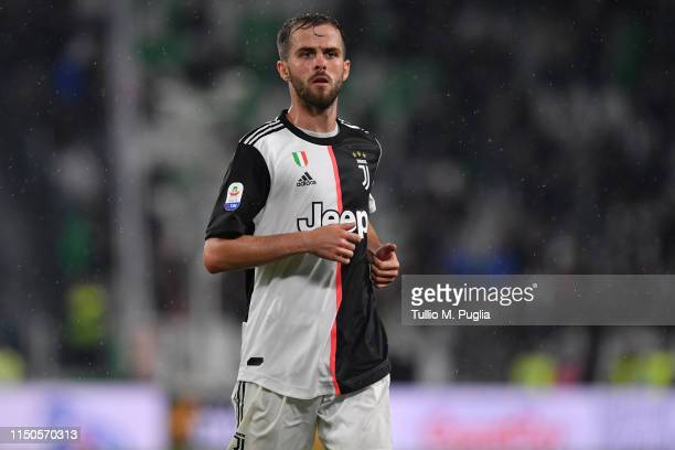 Miralem Pjanic of Juventus in action during the Serie A match between Juventus and Atalanta BC on May 19 2019 in Turin Italy