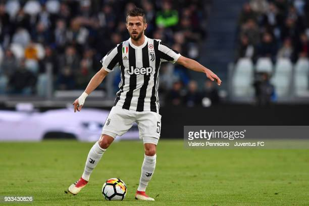 Miralem Pjanic of Juventus in action during the Serie A match between Juventus and Atalanta BC on March 14 2018 in Turin Italy