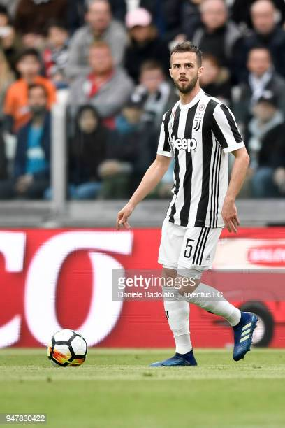 Miralem Pjanic of Juventus in action during the serie A match between Juventus and UC Sampdoria at Allianz Stadium on April 15 2018 in Turin Italy