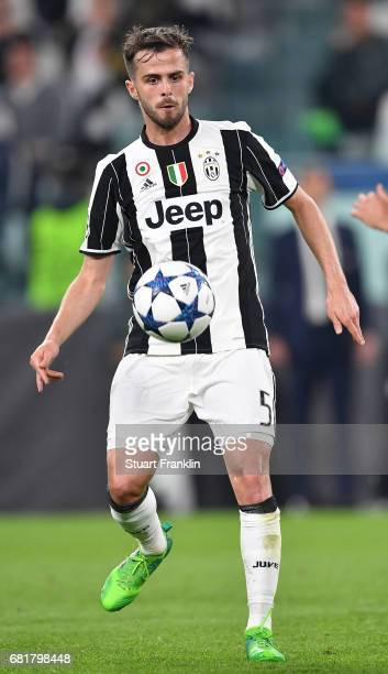 Miralem Pjanic of Juventus in action during the UEFA Champions League Semi Final second leg match between Juventus and AS Monaco at Juventus Stadium...