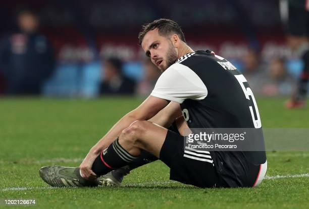 Miralem Pjanic of Juventus injured during the Serie A match between SSC Napoli and Juventus at Stadio San Paolo on January 26 2020 in Naples Italy