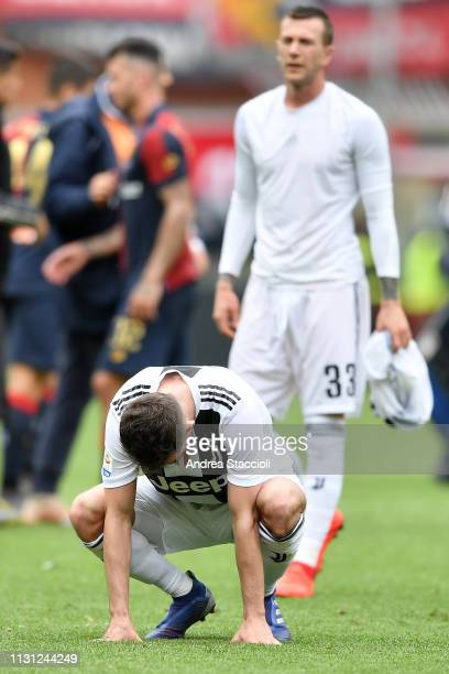 Miralem Pjanic of Juventus looks dejected at the end of the Serie A match between Genoa CFC and Juventus FC Genoa CFC won 20 over Juventus