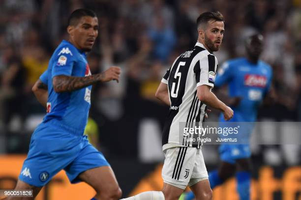 Miralem Pjanic of Juventus looks of SSC Napoli during the serie A match between Juventus and SSC Napoli on April 22 2018 in Turin Italy