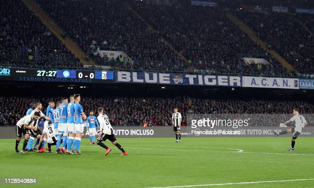 Miralem Pjanic of Juventus scores the 01 goal during the Serie A match between SSC Napoli and Juventus at Stadio San Paolo on March 3 2019 in Naples...