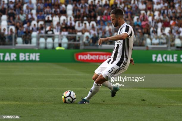 Miralem Pjanic of Juventus shoots the ball during the Serie A football match n1 JUVENTUS CAGLIARI on at the Allianz Stadium in Turin Italy