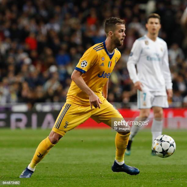 Miralem Pjanic of Juventus Turin controls the ball during the UEFA Champions League quarter final second leg match between Real Madrid and Juventus...